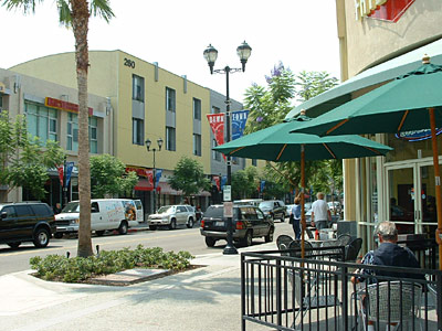 Mixed use area with lofts across the street in downtown Brea.
