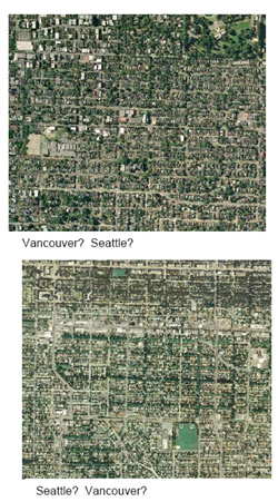 Comparison image of neighborhoods in Vancouver and Seattle