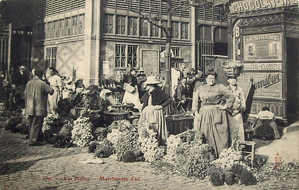 A postcard from Les Halles market in Paris.