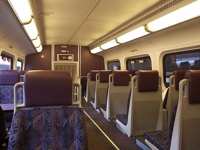 Inside Metrolink passeger car