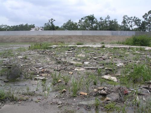 Remains of a breached levee in New Orleans