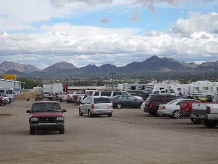 Hundreds of thousands drive into Quartzsite for swap meets and shows during the town's high season.