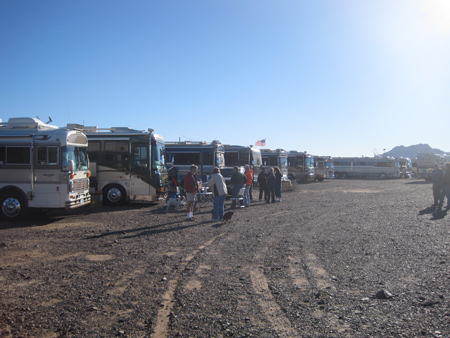 A rally of Blue Bird Wanderlodge owners gathers in the LTVA outside of Quartzsite.